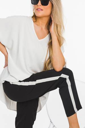 Side Stripe Pants, Black