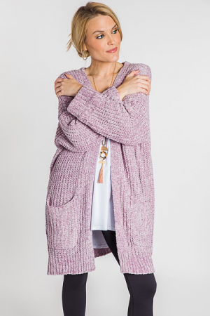 Chenille Knit Cardi, Lavender