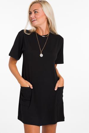 Pockets Tshirt Dress, Black