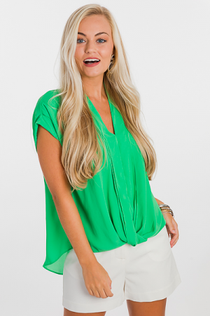Twist Hem Blouse, Green