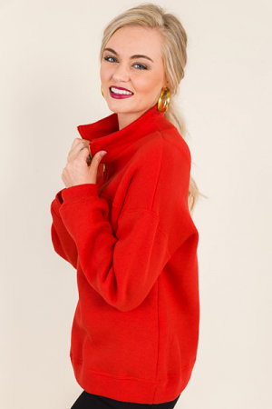 Gold Zip Pullover, Red