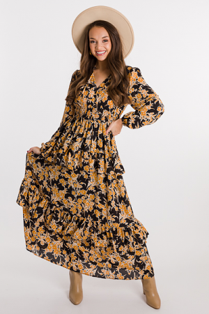 Regal Floral Maxi, Black