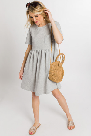 Throwback Babydoll Dress, Heather