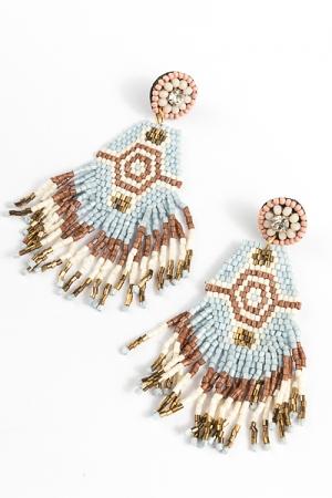 Beaded Hex Earrings, Sky Bronze