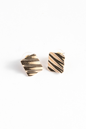 Texture Square Earrings, Gold