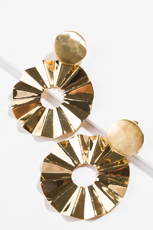 Circle Fans Earring, Gold