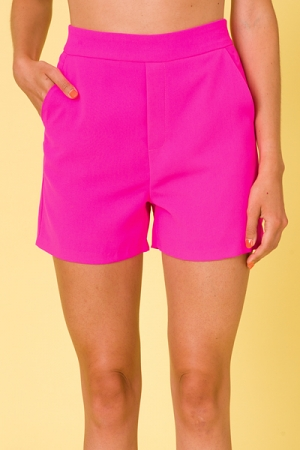 Ultra Pink Solid Shorts
