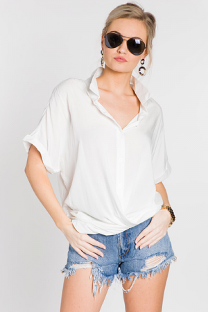 Twist and Shout Button Top, White