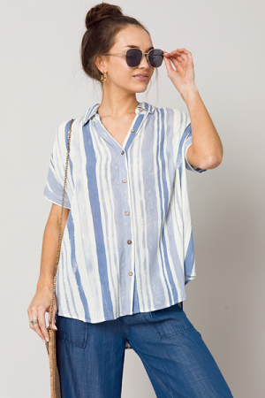 Painted Lines Button Down, Blue