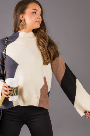 Abstract Colorblock Sweater, Ivory