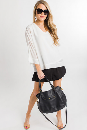 Silky Lining Blouse, White