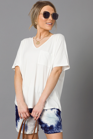 Soft Stretch Boxy Tee, White