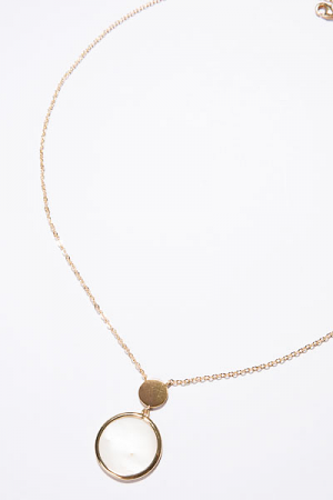Dainty Double Disc Necklace, Ivory