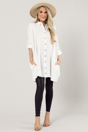 Tab Sleeve Button Frock, White