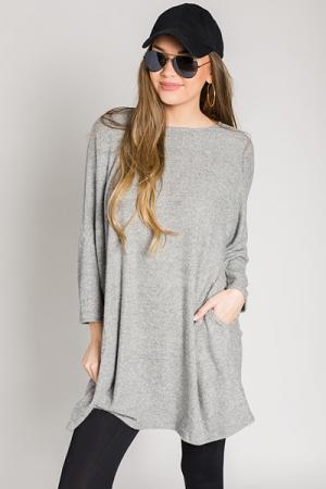 Sweater Pocket Dress, Grey