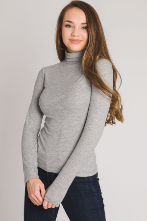 Basic Ribbed Turtleneck, Grey