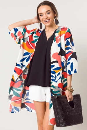 Mod Print Kimono, Off White