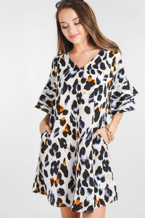 Cheetah Flare Sleeve Dress, Cream