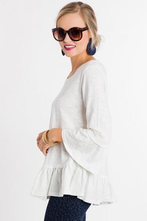 Ruffle Hem Cotton Top, White