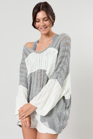Distress Colorblock Sweater, Grey