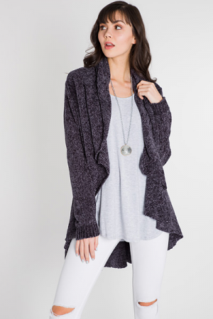 Waterfall Chenille Cardi, Charcoal