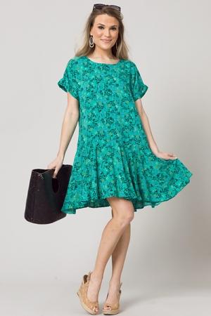 Drop Waist Floral Dress, Green