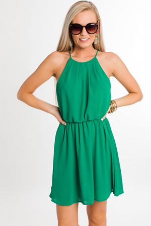 Perry Pleated Dress, Green