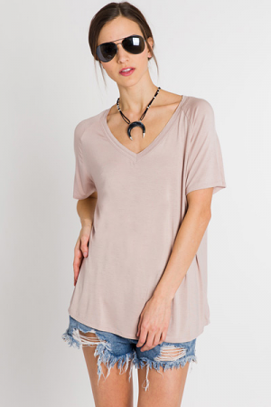 Easy V-Neck, Tan