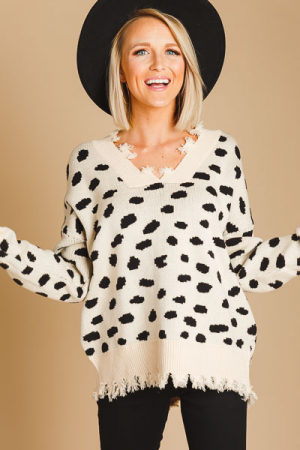 Destroyed Edge Dalmation Sweater