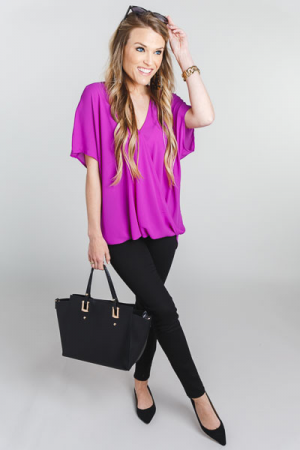 Surplice Snap Blouse, Purple