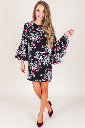 Brooks Bell Sleeve Dress, Black