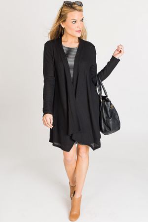 Solid Open Front Cardigan, Blac