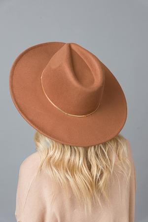Felt Fedora Chain Hat, Brown