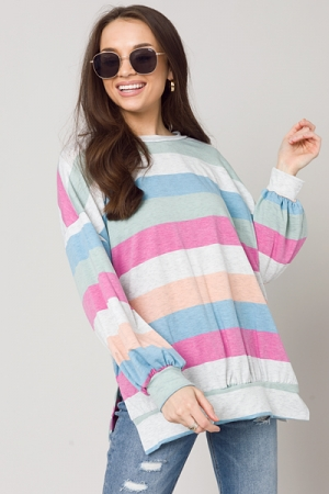 Heathered Stripe Pullover