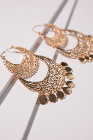 Boho Crescent Earrings, Gold