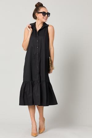 Belted Tier Shirt Dress, Black