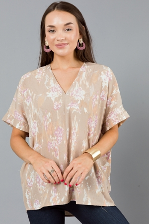 Abstract Boxy Blouse, Taupe