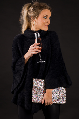 Glam Gal Sweater Poncho, Black