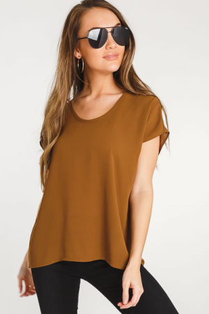 Basic Chiffon Top, Brown