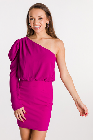 Puff Single Sleeve Dress, Magenta