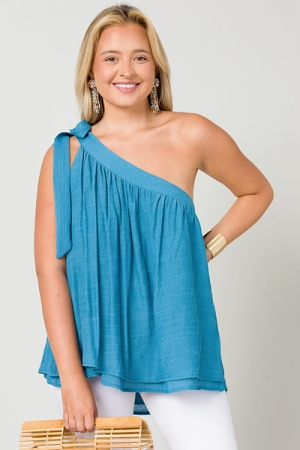 Bow Out Top, Ocean Blue
