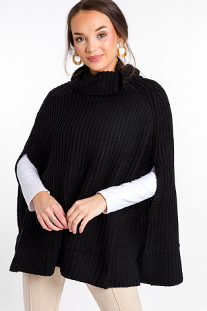 Chic Sweater Cape, Black