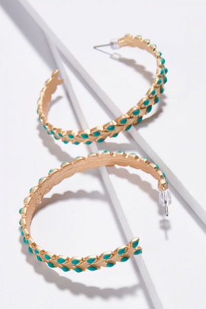 Color Weave Hoops, Turquoise