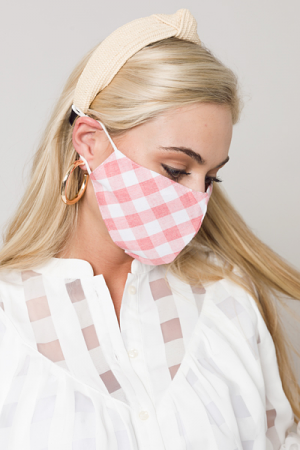 Gingham Check Mask, Red