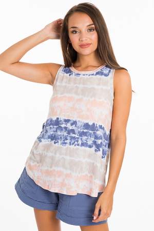Tie Dyed Knit Tank, Peach
