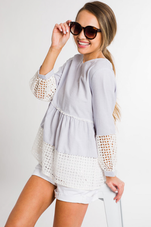 Preppy Heart Top, Grey