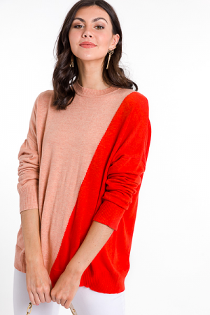 Two Tone Slant Sweater, Coral