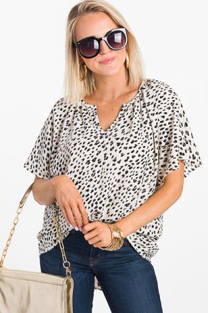Leopard Specks Blouse, Ivory