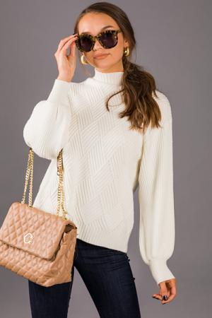 Diamond Ribbed Sweater, Off White