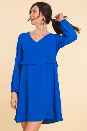 Feeling Blue Ruffle Dress, Cobalt